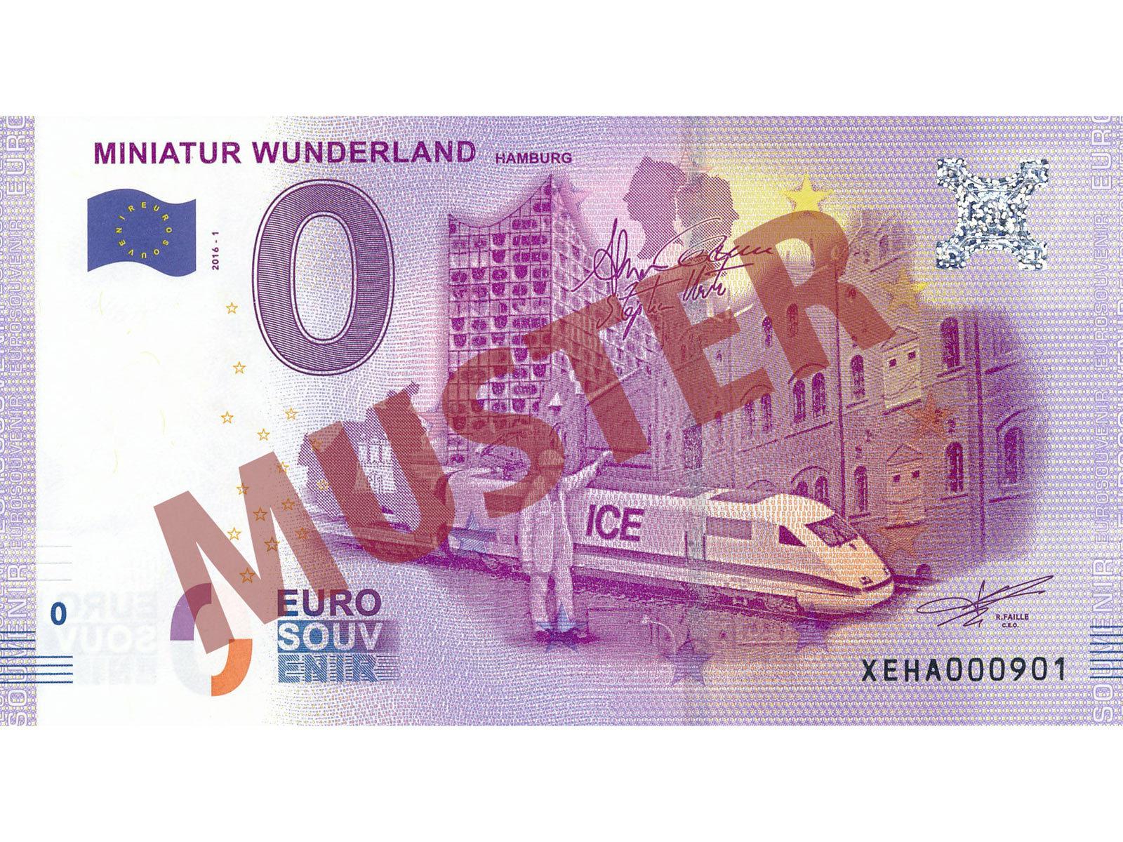 # 0 Euro Schein Deutschland 2020 /· Miniatur Wunderland Hamburg /· Flughafen /· Souvenir o Null /€ Banknote